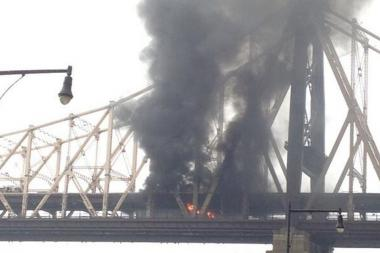 The 59th Street Bridge was closed in both directions in the wake of the fire.