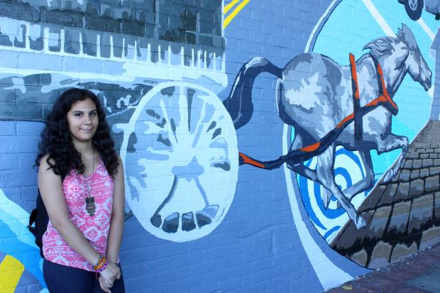 The Atlantic Avenue mural was unveiled on Wednesday by student artists and community members.