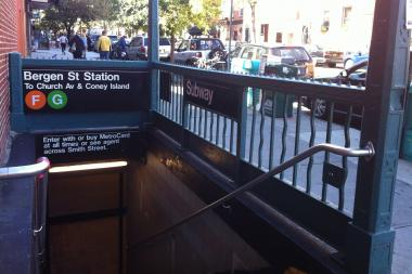 A customer was struck by a southbound G train at the Bergen Street subway station, MTA officials said.