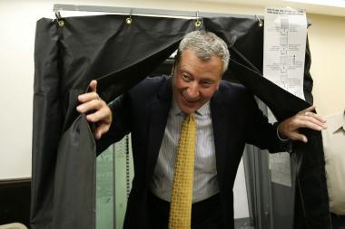Bill de Blasio voted during the Democratic primary for mayor, Sept. 10, 2013.