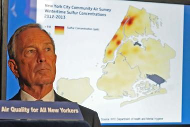 Mayor Michael Bloomberg touted his work to improve New York City's air quality during a press conference at Chelsea Piers, Sept. 26, 2013.