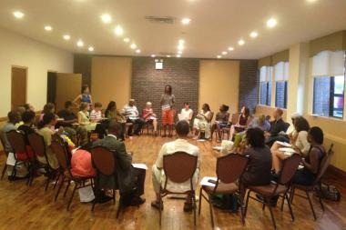 Brooklyn Movement Center Executive Director Mark Winston Griffith addresses organizers at a recent food co-op meeting.