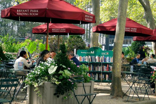 The Bryant Park Reading Room hosts readings and other events.