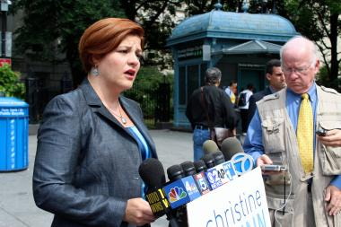 Council Speaker Christine Quinn campaigning for mayor.