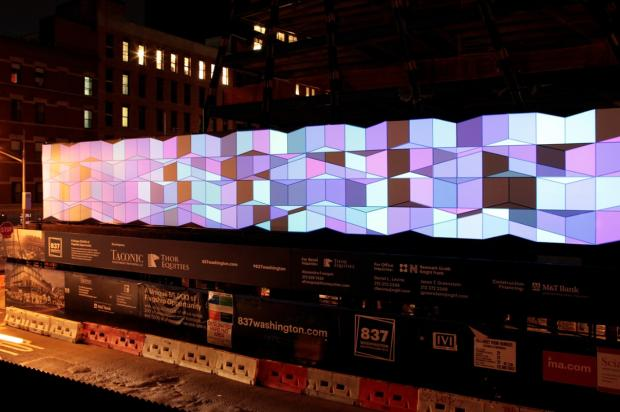 The public art project completed in early September 2013 is near the High Line and across from the Standard Hotel.