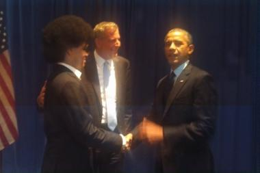 Bill and Dante de Blasio with President Barack Obama at a Manhattan fundraiser on Sept. 24, 2013. The mayor-elect headed to Washington, D.C. on Dec. 13 to discuss urban economic issues with the president.