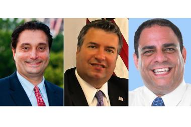 From left to right: John Ciafone, Gus Prentzas and Costa Constantinides, the Democratic candidates competing for Astoria's City Council seat in the primary election.