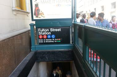 An off-duty firefighter intervened in a fight inside the Fulton Street subway station in the Financial District, the MTA said.