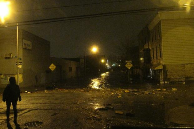 Floodwaters in Gowanus on Oct. 29, 2012, as Hurricane Sandy was bearing down on New York. The city plans to make $10 million in sewer upgrades to combat flooding on Ninth Street and Second Avenue, officials said in December 2016.