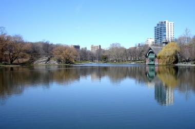 The Central Park Conservancy is planning changes to two sites that overlook the Harlem Meer, the lake pictured here. The manmade meer is accessed on the east side of the park near 109th and 110th Streets.