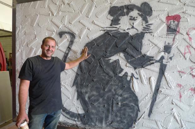 A piece of graffiti art by British artist Banksy made a stop at Serett Metalworks in Gowanus recently.