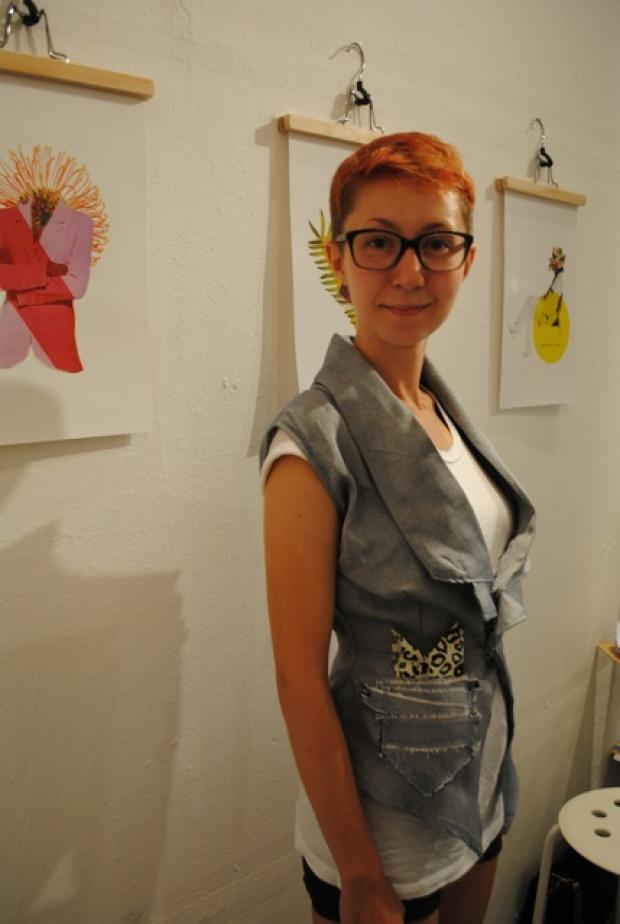 Artist Aliya Bonar and designer Lindsey McCord crafted custom garments for Katie Sly and Eric Petersen at the PowerSuit Boutique on West 37th Street in Midtown.
