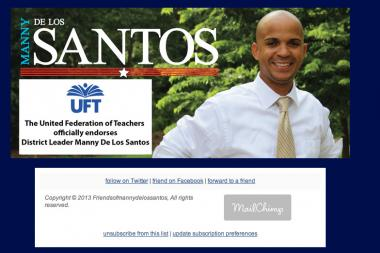 Manny De Los Santos has been flaunting an endoresment from the UFT since Monday.