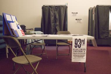 Of six voting machines at 213 W. 58th St., one was set aside for a single mystery voter.
