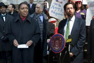 Councilwoman Letitia James and state Sen. Daniel Squadron.