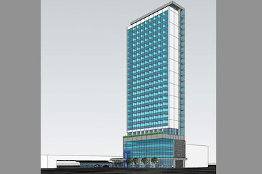 A rendering of a new hotel coming to downtown Jamaica.