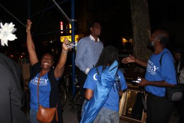 Robert Cornegy supporters celebrated on election night, despite the 36th City Council race being too close to call.