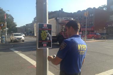 Police post leaflets asking for assistance after the stabbing death of a man in Sunset Park Sunday.