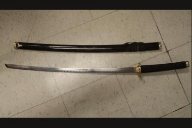 The sword was confiscated from a man arrested Sept. 27, 2013.