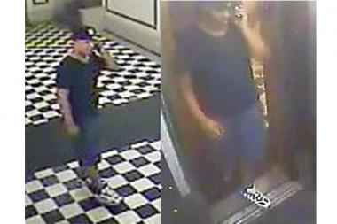 Police released this video of a man they believe stole a woman's purse in an apartment stairwell in August.