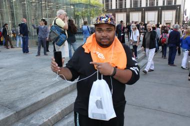 Hundreds gathered early outside the Fifth Avenue Apple Store to make sure they got their hands on a new iPhone.