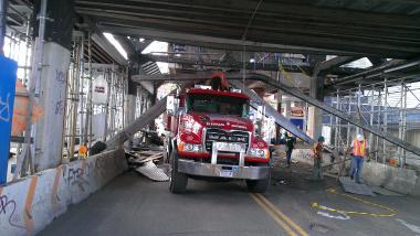 Scaffolding collapse renders a walkway at the Smith-9th Street station unusable, officials said.