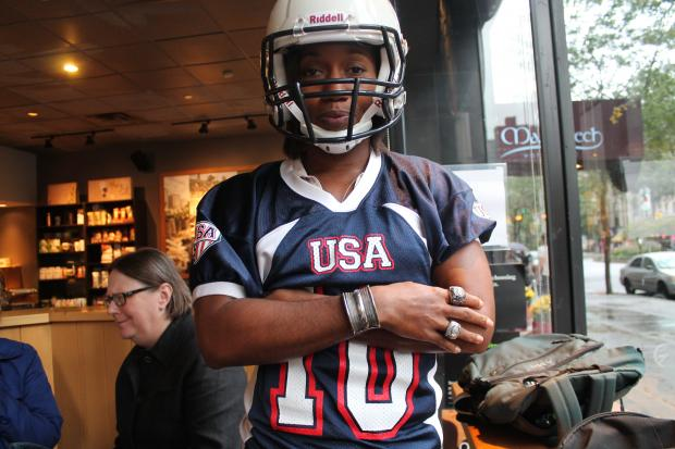 Adrienne Smith, who owns Harlem Hip-Hop Tours, also plays women's tackle football. She's helped the United States win the international women's footbal championship twice in a row.