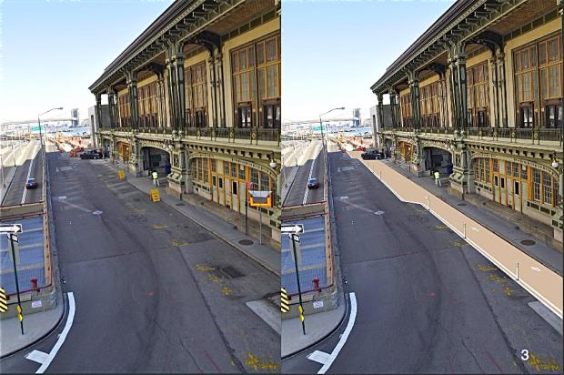 A new shared bike and pedestrian lane will be placed along the Battery Maritime building in October.