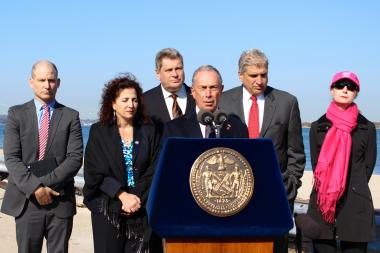 Mayor Michael Bloomberg and local elected officials discuss resiliency plans for Coney Island on Tuesday, Oct. 29, 2013, the first anniversary of Hurricane Sandy.