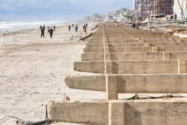 The concrete base of the Rockaway Beach boardwalk two days after Hurricane Sandy.
