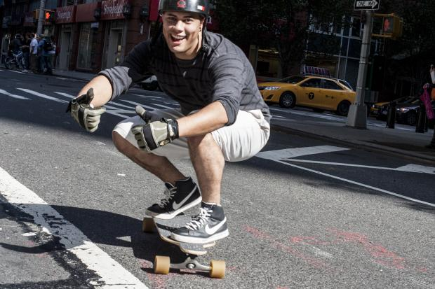 Skateboarders raced down Broadway from the Upper West Side to Lower Manhattan during the Broadway Bomb on Oct. 12, 2013.