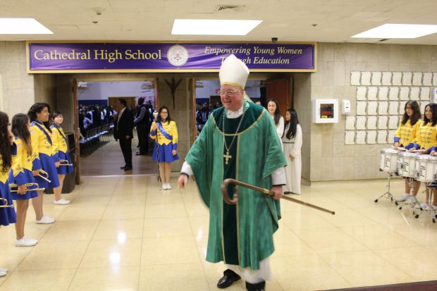 Cardinal Timothy Dolan celebrated Mass at Cathedral High School and urged students to resist corruption.