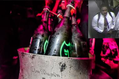 A man in a shirt and tie rolled out of the VIP Room with over $5,000 of Champagne.