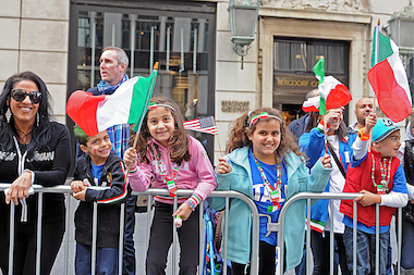Tens of thousands of people packed along 5th Avenue to watch the 69th annual Columbus Day Parade Monday, Oct. 14, 2013.