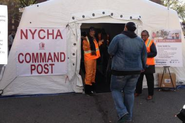 NYCHA set up a drill in Red Hook to show residents what help they would receive after an emergency.