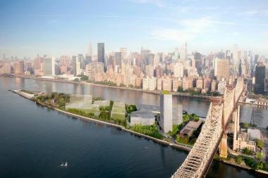 A rendering of Cornell NYC Tech on Roosevelt Island.