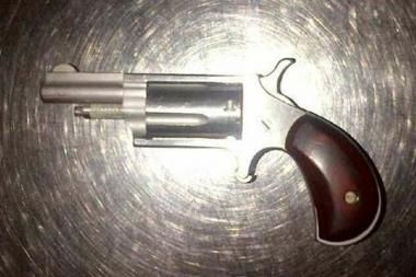 The .22 Derringer pistol that was allegedly found on Douglas White at LaGuardia Airport.