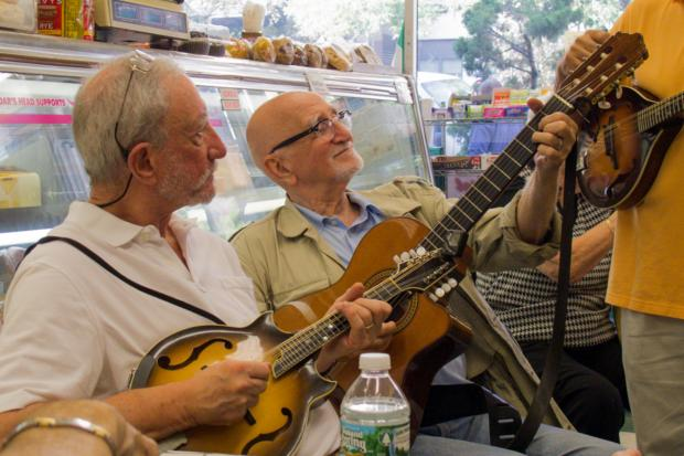 Actor Dominic Chianese and his band play at the Upper East Side grocery store Conte's Market every Friday.