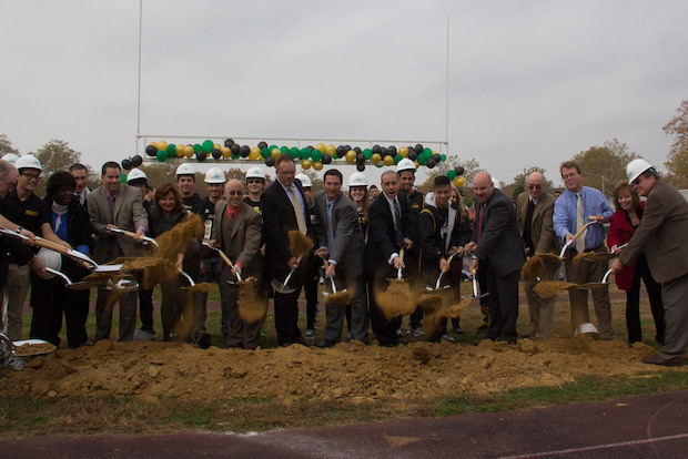 Councilman James Oddo joined Staten Island Technical High School staff to break ground on the $7 million renovations to the athletic field.