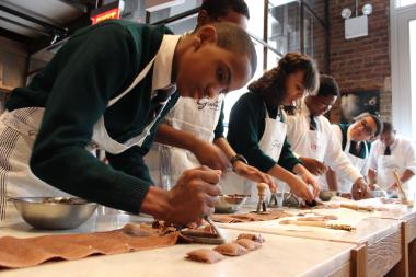 The local kids learned to make chocolate and cheese ravioli by hand.