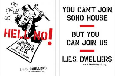 A flier created by the L.E.S. Dwellers to rally oppoisition against SoHo House's proposed Lower East Side location.