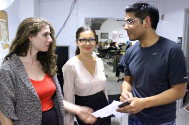 Members of the L.E.S. Dwellers at a Community Board 3 meeting including its founder Diem Boyd (center), Sara Romanoski (right) and Marvin Avilez (left).