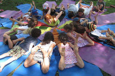 The company said parents and kids noticed a difference when they practiced yoga techniques during tough tests.