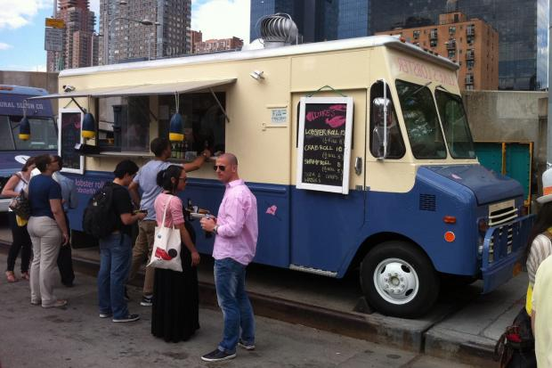 Luke's Lobster Truck was scheduled to give away free lobster rolls to its first 100 customers in Midtown on Tuesday, Oct. 8, 2013.