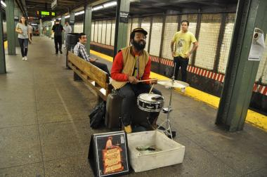 Subway musician Mister Reed plays at the Bedford Avenue subway station.