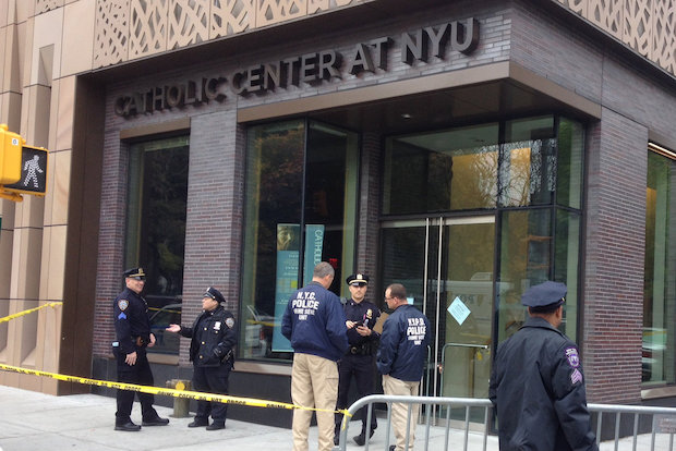 A 24-year-old missionary was attacked while entering NYU's Catholic Center at 5:30 a.m. Thursday.