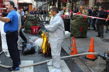 The truck's hose broke, spilling heating fuel onto the Midtown street Tuesday, the FDNY said.