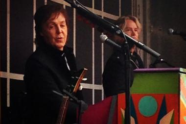Paul McCartney played a surprise show in Times Square on Oct. 10, 2013.