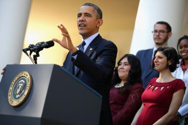 President Barack Obama delivers remarks about the error-plagued launch of the Affordable Care Act's online enrollment website in the Rose Garden of the White House October 21, 2013 in Washington, DC.