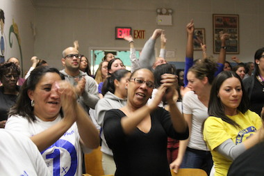 P.S.1 teachers and parents slammed a DOE proposal to bring a co-location to their South Bronx school at a rowdy public hearing in October 2013.